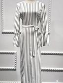 זול שמלות נשים-מקסי דפוס, פסים - שמלה משוחרר בגדי ריקוד נשים