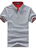 billige T-shirts og undertrøjer til herrer-Høj krave Herre - Farveblok Patchwork Basale T-shirt Sort XXL / Kortærmet / Sommer