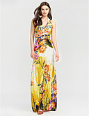 cheap Women's Dresses-Women's Beach Sheath Dress - Floral Maxi V Neck