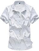 זול חולצות לגברים-פרחוני בסיסי כותנה, חולצה - בגדי ריקוד גברים דפוס / שרוולים קצרים