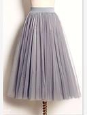 hesapli Kadın Etekleri-Kadın's Bale Eteği sevimli Stil Maksi Salıncak Etekler - Solid Tül Beyaz Siyah Gri M L XL