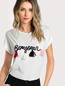 baratos Saias Femininas-Mulheres Camiseta Básico Letra