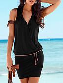 זול שמלות נשים-שחור צווארון V מיני גלישה, אחיד - שמלה נדן בסיסי חוף בגדי ריקוד נשים / סקסית