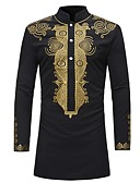 cheap Men's Blazers & Suits-Men's Shirt - Tribal Print Standing Collar / Long Sleeve
