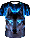 cheap Men's Pants & Shorts-Men's Basic T-shirt - Animal Wolf, Print Round Neck / Short Sleeve