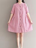 baratos Vestidos de Mulher-Mulheres Tamanhos Grandes Algodão Reto Vestido Listrado Altura dos Joelhos