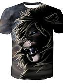 baratos Camisetas & Regatas Masculinas-Homens Camiseta Básico Estampado, Animal Algodão Decote Redondo Leão / Manga Curta