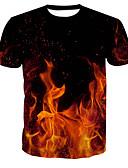 お買い得  メンズTシャツ&タンクトップ-男性用 プリント Tシャツ ベーシック ラウンドネック カラーブロック / 半袖