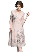 cheap Women's Lingerie-SHE IN SUN Women's Basic Street chic Flare Sleeve Sheath Dress - Floral Lace Embroidered