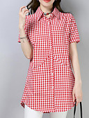 baratos Camisas Femininas-Mulheres Camisa Social Fofo Temática Asiática Quadriculada