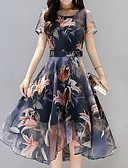 cheap Women's Dresses-Women's Floral Daily / Holiday Boho / Sophisticated Asymmetrical Slim Sheath Dress - Floral Print Summer Navy Blue L XL XXL