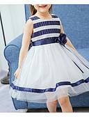 levne Dívčí šaty-Dívka je Bavlna Víkend Proužky Léto Šaty Proužky Vodní modrá Rubínově červená