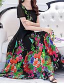 baratos Vestidos Estampados-Mulheres Tamanhos Grandes Feriado Boho / Sofisticado Delgado Bainha / balanço Vestido - Estampado, Floral Decote Quadrado Médio Azul