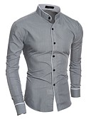 cheap Girls' Clothing-Men's Basic Shirt - Solid Colored Standing Collar / Long Sleeve