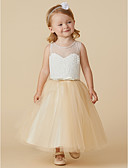cheap Flower Girl Dresses-A-Line Tea Length Flower Girl Dress - Lace / Tulle Sleeveless Jewel Neck with Beading / Lace / Sash / Ribbon by LAN TING BRIDE®