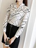 baratos Camisas Femininas-Mulheres Camisa Social - Para Noite Moda de Rua Estampado, Geométrica Decote V Solto