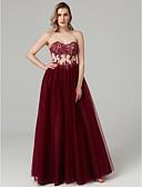 זול שמלות נשף-נשף לב (סוויטהארט) עד הריצפה תחרה / טול / סאטן נמתח מסיבת קוקטייל / נשף רקודים / ערב רישמי שמלה עם חרוזים / אפליקציות / קפלים על ידי TS Couture®