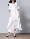 cheap Women's Dresses-Women's Plus Size Cotton Loose Swing Dress - Solid Colored White Asymmetrical V Neck