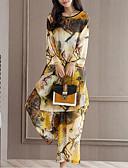 povoljno Ženski dvodijelni kostimi-Žene Izlasci Širok kroj Duga Bluza / Set - Geometrijski oblici, Print Visoki struk Hlače / Proljeće / Ljeto / Cvjetni print
