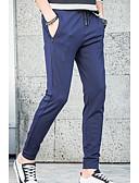 tanie Męskie spodnie i szorty-Męskie Sportowy Typu Chino Spodnie - Solidne kolory Podstawowy Czarny