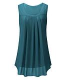ieftine Bluză-flanelul de sus liber pentru femei - gât rotund solid colorat