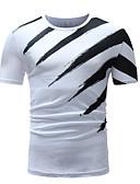 preiswerte Herren T-Shirts & Tank Tops-Herrn Gestreift / Einfarbig - Street Schick Sport Übergrössen Baumwolle T-shirt, Rundhalsausschnitt Schlank Druck / Langarm / Sommer