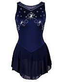 cheap Ice Skating Dresses , Pants & Jackets-Figure Skating Dress Women's Ice Skating Dress Dark Navy Spandex, Stretch Yarn Stretchy Professional / Competition Skating Wear Quick Dry, Anatomic Design, Handmade Classic Sleeveless Performance