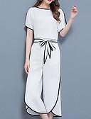 ieftine Costum Damă Două Bucăți-Pentru femei Mărime Plus Size Șic Stradă / Sofisticat Muncă Set - Mată / Bloc Culoare, Pantaloni Peteci / Picior Larg / Vară