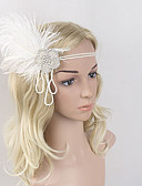 preiswerte Damen Pelz- & Kunstpelzmäntel-Great Gatsby Retro 20er Kostüm Damen Flapper Haarband Kopfbedeckung Weiß Vintage Cosplay Feder Ärmellos Halloween Kostüme