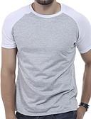 abordables Camisetas y Tops de Hombre-Hombre Básico Deportes Tallas Grandes Retazos Camiseta, Escote Redondo Un Color Gris Oscuro XL / Manga Corta / Verano