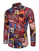 tanie Męskie koszulki polo-Puszysta Koszula Męskie Aktywny / Podstawowy Bawełna Szczupła - Geometric Shape / Kolorowy blok / Długi rękaw