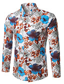 Недорогие Мужские рубашки-Муж. Офис Большие размеры - Рубашка Хлопок Деловые / Винтаж / Богемный Цветочный принт Красный / Длинный рукав