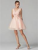 preiswerte Abendkleider-Ballkleid V-Ausschnitt Kurz / Mini Tüll mit Spitzen-Overlay Schöner Rücken Abiball Kleid mit Perlenstickerei / Applikationen durch TS Couture®