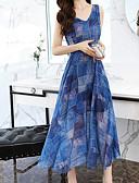 tanie Sukienki-Damskie Podstawowy Szczupła Spodnie - Geometric Shape Nadruk Wysoka talia Niebieski / W serek