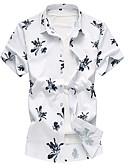 tanie Męskie koszule-Koszula Męskie Podstawowy Kwiaty / Krótki rękaw