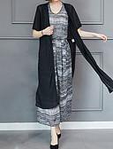 ieftine Costum Damă Două Bucăți-Pentru femei Mărime Plus Size De Bază / Șic Stradă Ieșire Larg Set - Geometric, Pantaloni Talie Înaltă Imprimeu / Vară
