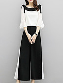 povoljno Bikinis-Žene Veći konfekcijski brojevi Flare rukav Set - Color block Hlače / Ljeto / flare rukav