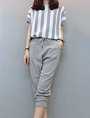 cheap Women's Two Piece Sets-Women's Going out Slim Shirt - Striped Pant / Summer / Fine Stripe