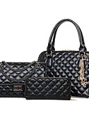 baratos Cachecol Feminino-Mulheres Bolsas PU Conjuntos de saco 3 Pcs Purse Set Ziper Dourado / Preto / Bege