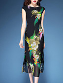 ieftine Rochii de Damă-Pentru femei Chinoiserie Șic Stradă Shift Rochie Floral Plisat Midi