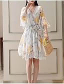 preiswerte Damen Kleider-Damen Grundlegend / Chinoiserie Aufflackern-Hülsen- Baumwolle Lose Swing Kleid Blumen Midi V-Ausschnitt Hohe Taillenlinie