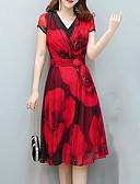 ieftine Rochii de Damă-Pentru femei Mărime Plus Size Muncă Șic Stradă / Sofisticat Shift Rochie - Peteci, Floral / Plisat In Formă de Inimă Midi / Vară