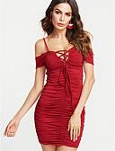 hesapli Balo Elbiseleri-Kadın's Kulüp Dar Bandaj Elbise - Solid, Arkasız Dantelli Straplez Mini
