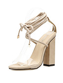 זול טייצים-בגדי ריקוד נשים נעליים קשמיר / PVC קיץ רצועת קרסול סנדלים חסום את העקב פתוח בבוהן עניבת פרפר שחור / שקד / מסיבה וערב