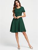 זול שמלות נשים-צווארון V Ruched בסיסי, צבע אחיד - שמלה משוחרר בגדי ריקוד נשים