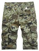 זול מכנסיים ושורטים לגברים-בגדי ריקוד גברים סגנון רחוב / Military מידות גדולות כותנה מכנסי טרנינג / שורטים מכנסיים - להסוות ירוק צבא / ספורט / קיץ