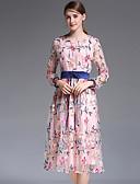 זול שמלות נשים-מותניים גבוהים מידי תחרה / פרנזים / דפוס, פרחוני / גיאומטרי / משובץ - שמלה סווינג רזה משי בוהו בגדי ריקוד נשים
