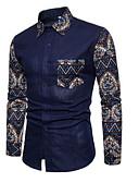 ieftine Jachete & Paltoane Bărbați-Bărbați Mărime Plus Size Cămașă Bumbac Activ / De Bază - Geometric / Manșon Lung / Zvelt
