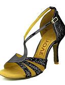 abordables Chaquetas con Capucha para Mujer-Mujer Zapatos de Baile Latino / Zapatos de Salsa Brillantina / Semicuero Sandalia / Tacones Alto Hebilla / Corbata de Lazo Tacón