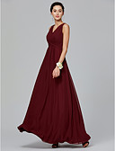 cheap Bridesmaid Dresses-A-Line V Neck Floor Length Chiffon Bridesmaid Dress with Side Draping / Criss Cross by LAN TING BRIDE®